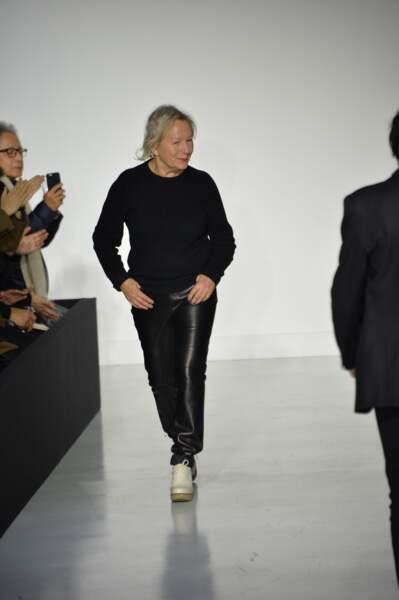 Agnès B est accueille par le public pour sa collection Hommes Automne-Hiver 2017/2018 à Paris.