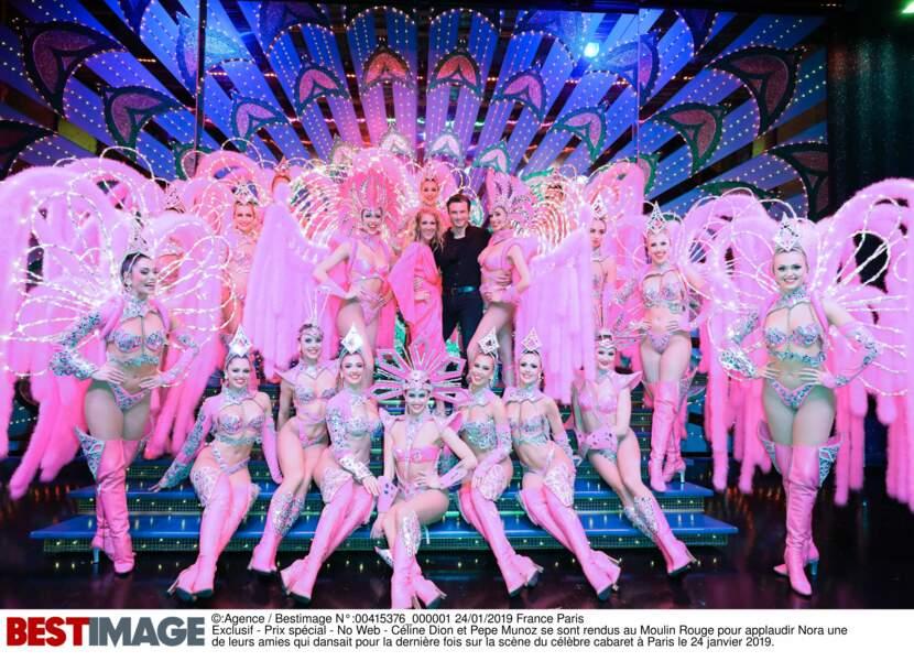 Céline Dion et Pepe Munoz entourés des girls du Moulin Rouge à Paris le 24 janvier 2019