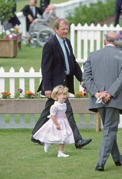 La princesse Beatrice, en larmes lors d'un match de polo à Windsor, le 16 juillet 1991