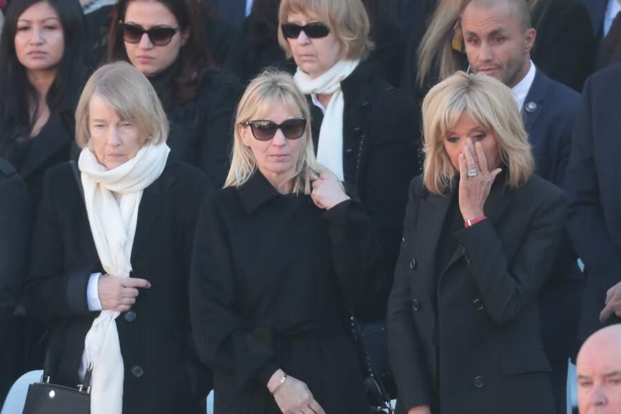 Brigitte Macron en larmes lors de l'hommage national à Charles Aznavour