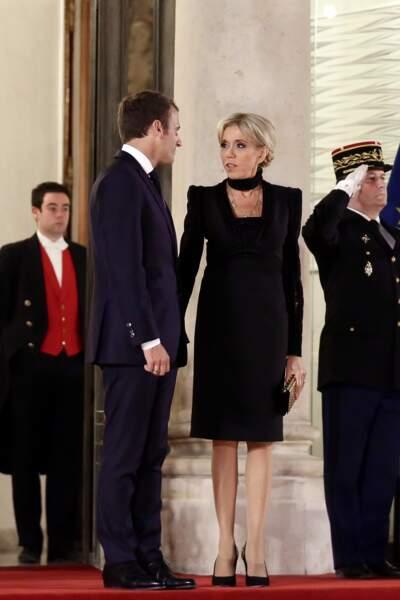 Emmanuel Macron et sa femme Brigitte Macron à Paris, à un dîner d'Etat au Palais de l'Elysée, le 25 septembre 2017.