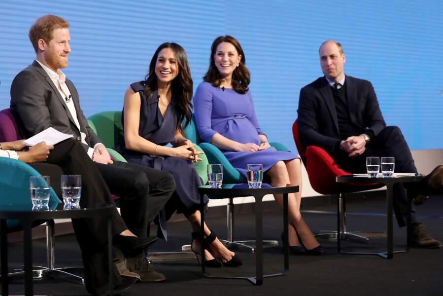 Le prince William, le prince Harry, Kate Middleton et Meghan Markle au forum annuel de la Royal Foundation, le 28 février 2018, à Londres.
