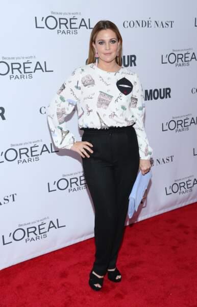 Drew Barrymore à la soirée Women Of The Year Awards à New York, le 13 novembre 2017
