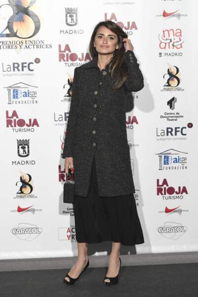 Penélope Cruz, à son arrivée aux prix de L'Union des Acteurs, à Madrid, le 11 mars 2019