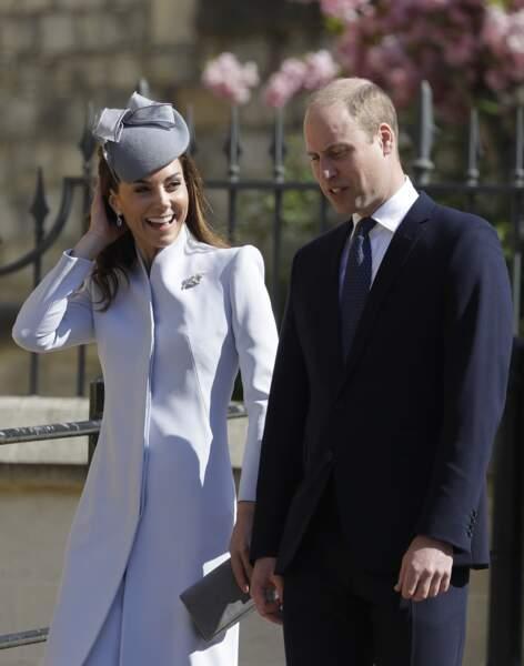 Kate Middleton, radieuse, auprès de William lors de la messe de Pâques à Windsor, le 21 avril 2019