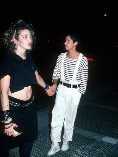 """Madonna et John """"Jellybean"""" Benitez  en 1984 à New York"""