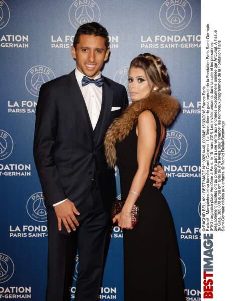 Marquinhos(en Hugo Boss)  et sa fiancée Carol Cabrino