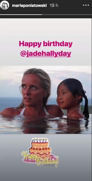 Marie Poniatowski souhaite un très bon anniversaire à Jade Hallyday