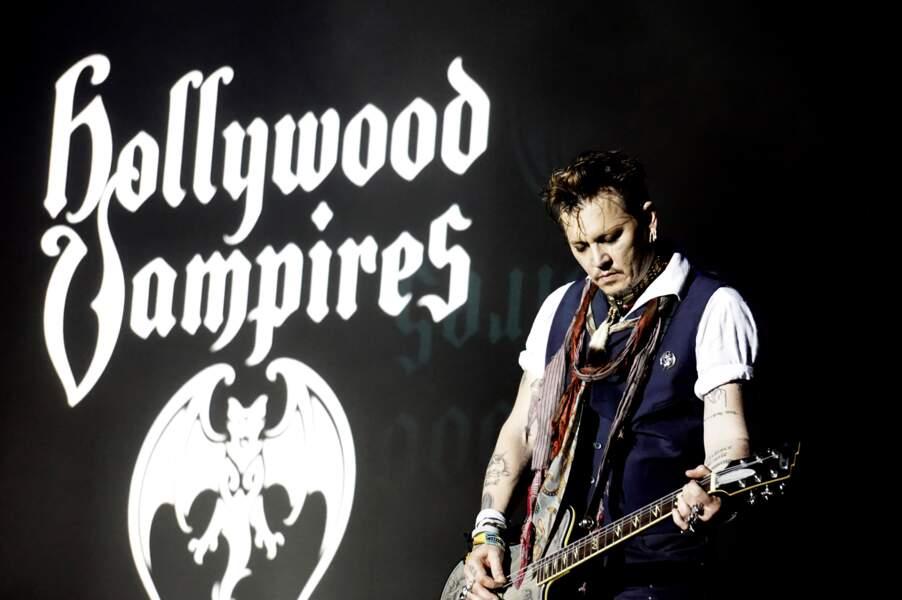 Johnny Depp en concert avec le groupe Hollywood Vampires à Herborn le 29 mai 2016