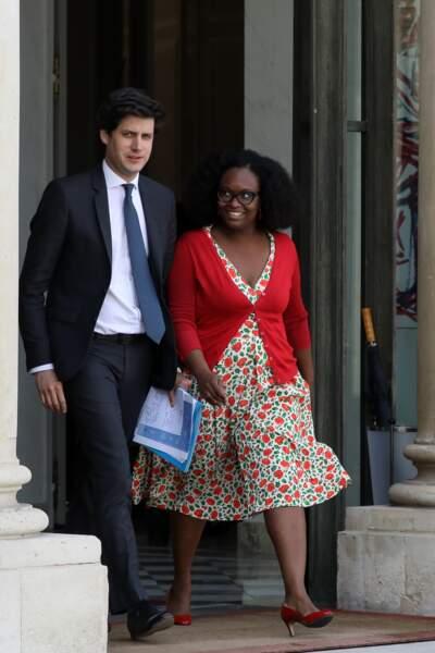 Sibeth Ndiaye au côté du secrétaire d'Etat Julien Denormandie, à la sortie du conseil des ministres, ce 22 mai 2019