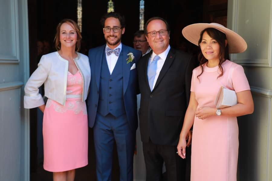Thomas Hollande entouré de ses parents François Hollande et Ségolène Royal lors de son mariage.