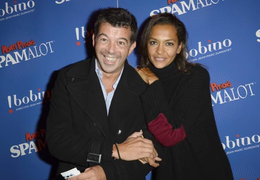 """Stéphane Plaza et Karine Le Marchand à la générale du Spectacle """"Spamalot"""" à Bobino à Paris le 3 octobre 2013"""