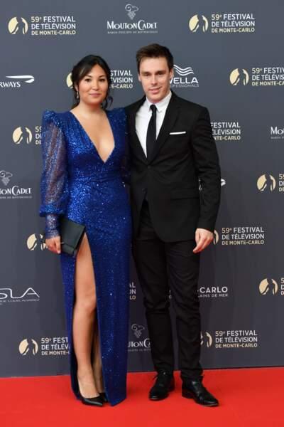Louis Ducruet et sa fiancée Marie Chevallier, en robe décolletée et fendue fait sensation à Monaco le 14 juin 2019