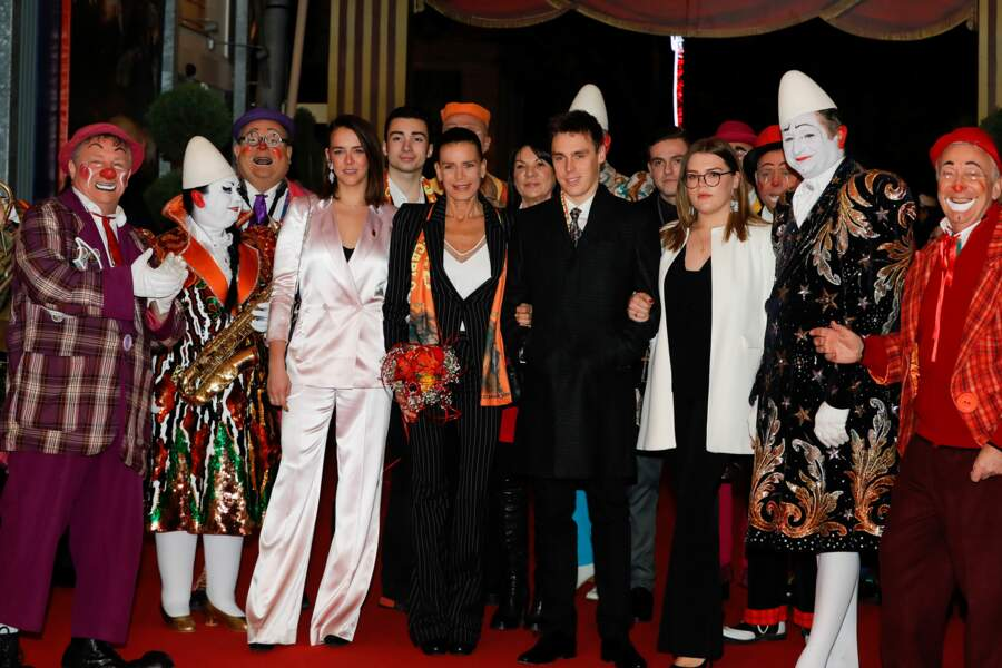 Stéphanie, Pauline et Louis Ducruet, Camille Gottlieb au festival du cirque de Monaco, le 18 janvier 2019