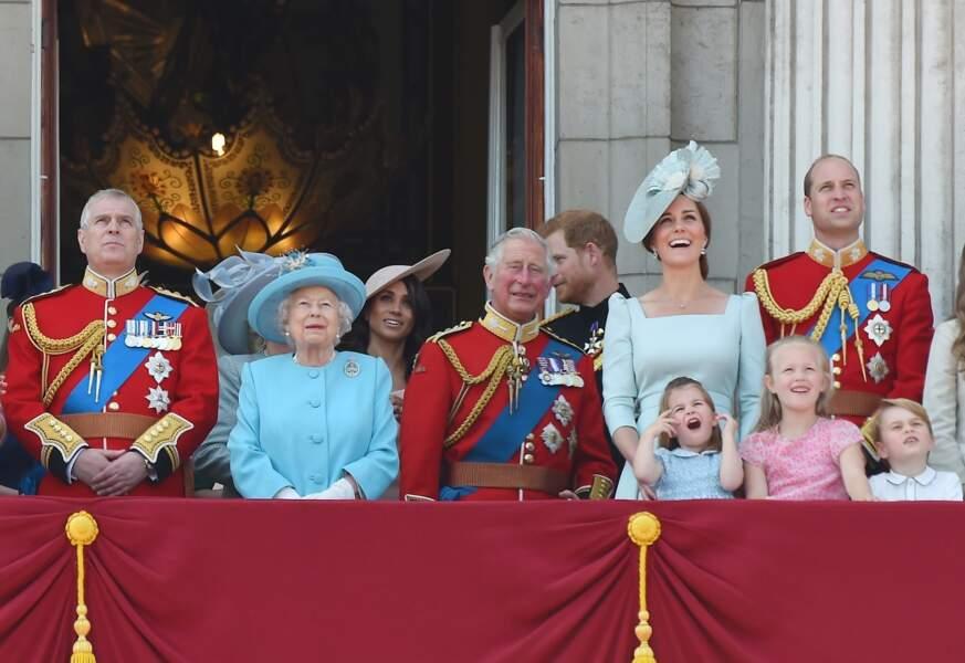 La famille royale réunie pour la parade Trooping the colour