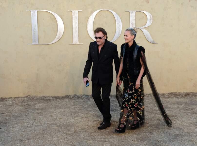 Johnny et Laeticia Hallyday au défilé Dior croisière by Maria Grazia Chiuri à Calabasas, le 11 mai 2017