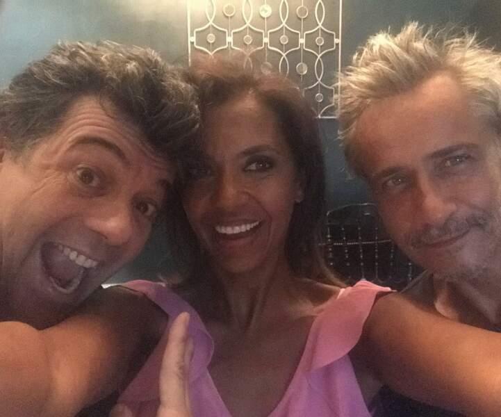 Stéphane Plaza, Karine Le Marchand et le comédien Jean-Michel Tinivelli à Paris en juillet 2018