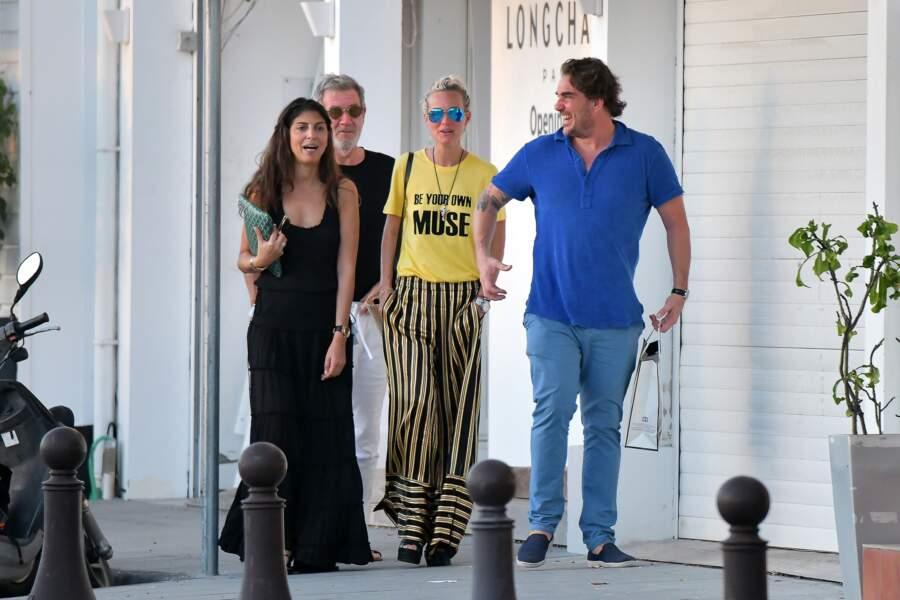 Hoda Roche, Laeticia Hallyday et Sébastien Farran sur le port de St Barth le 2 janvier 2018