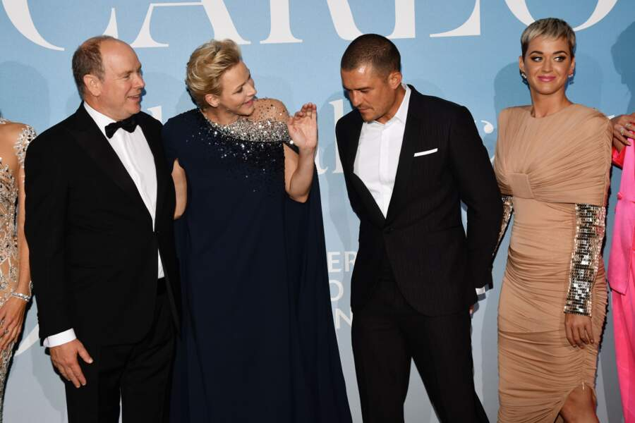 Le prince Albert II de Monaco, la princesse Charlene, Orlando Bloom et sa compagne Katy Parry