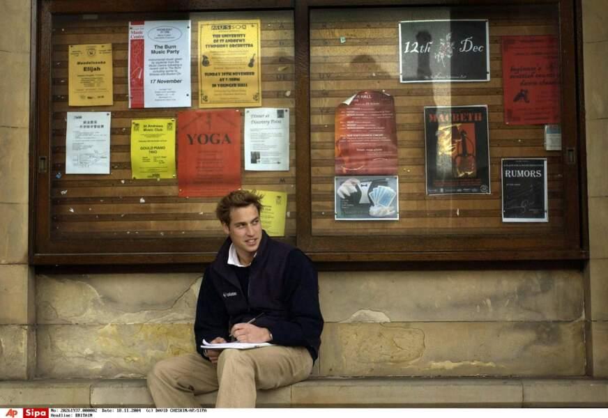 Le prince William à l'université de St Andrews, en 2004