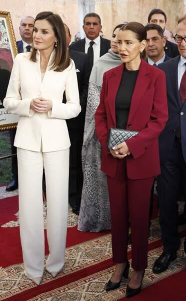 La reine Letizia d'Espagne visite l'école de la deuxième chance  à Salé au Maroc le 14 février 2019