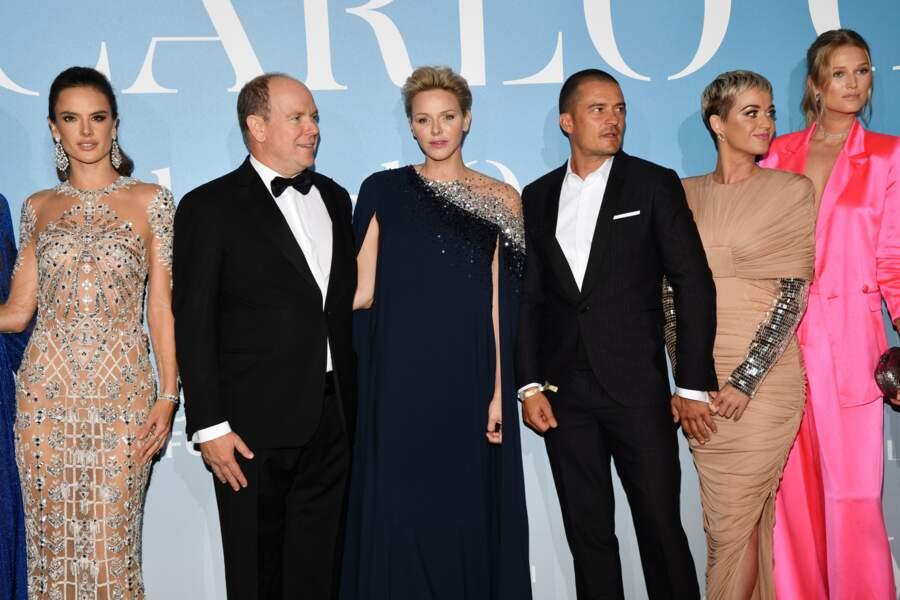 Alessandra Ambrosio, le prince Albert II de Monaco, la princesse Charlene, Orlando Bloom, Katy Perry, et Toni Garrn