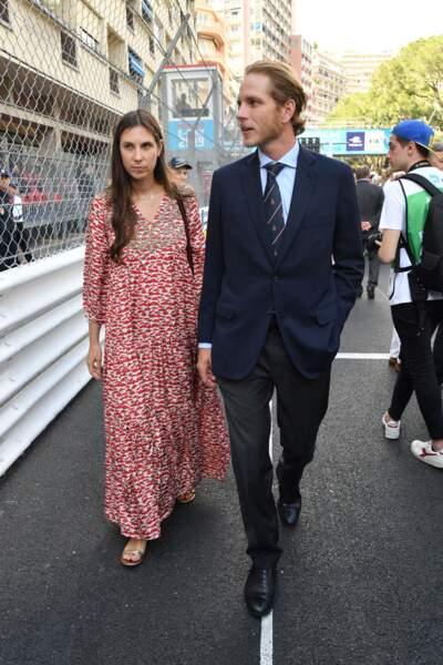 Andrea Casiraghi et Tatiana lors de leur arrivée sur le circuit de Monaco