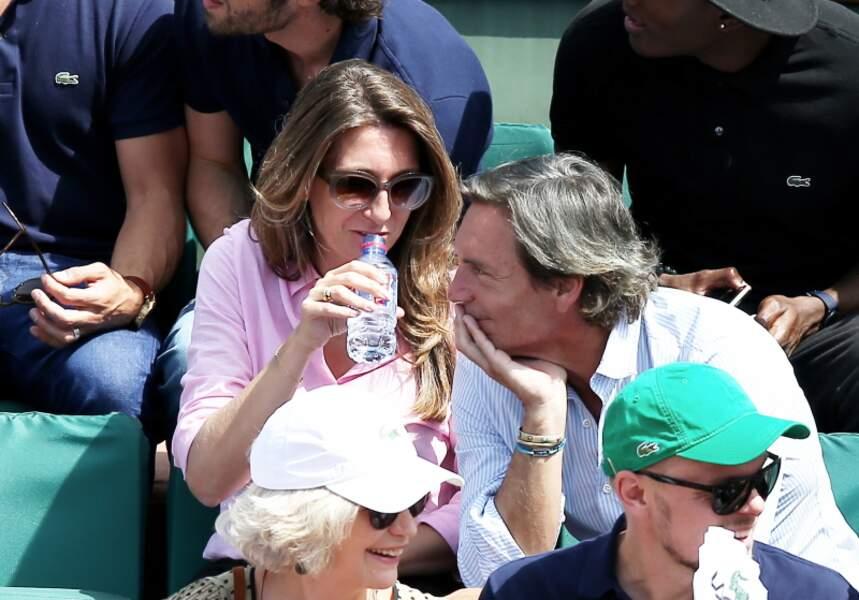 Anne-Claire Coudray et son compagnon Nicolas Vix dans les tribunes de Roland Garros