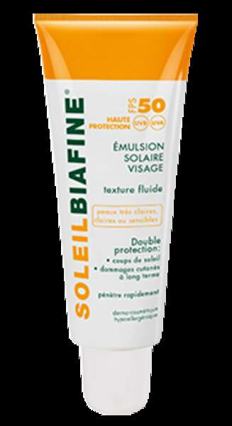 Cicabiafine, soleilbiafine émulsion solaire visage, prix conseillé 17,29 € en pharmacie
