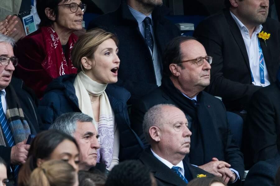 François Hollande et sa compagne Julie Gayet devant le match France-Angleterre