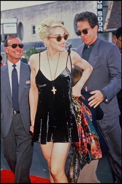 """Madonna et Warren Beatty à la première du film """"Dick Tracy"""" en 1990"""