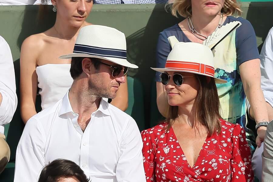 Pippa Middleton (enceinte) et son mari James Matthews à Roland-Garros le 27 mai 2018