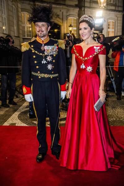 Frederik et Mary de Danemark au dîner du Nouvel An à Copenhague, le 1er janvier 2018