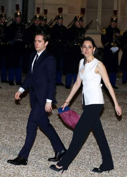Brune Poirson et son mari à l'Elysée pour un dîner à l'Elysée, en mars 2018