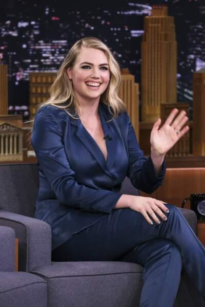 Le top model Kate Upton, sur le plateau du Tonight Show de Jimmy Fallon, le 21 février 2019