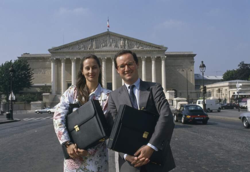 Ségolène Royal et François Hollande devant l'Assemblée nationale, le 17 Juin 1988