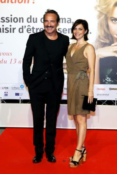 Jean Dujardin et Nathalie Péchalat, à l'ouverture du 10e Festival Lumière, à Lyon, le 13 octobre 2018