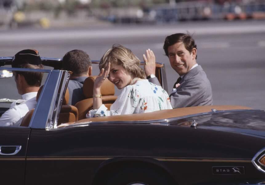 Diana et Charles lors de leur lune de miel à Gibraltar, le 1er aout 1981