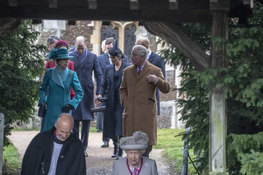 La famille royale d'Angleterre arrive en l'église Sainte-Marie-Madeleine pour la messe de Noël, le 25 décembre 2018