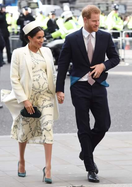 Meghan Markle et le prince Harry à l'Abbaye de Westminster, à Londres, le 11 mars 2019.