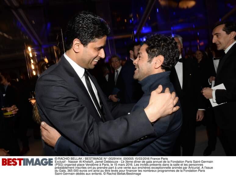 Nasser Al-Khelaïfi (en Hugo Boss) et Jamel Debbouze