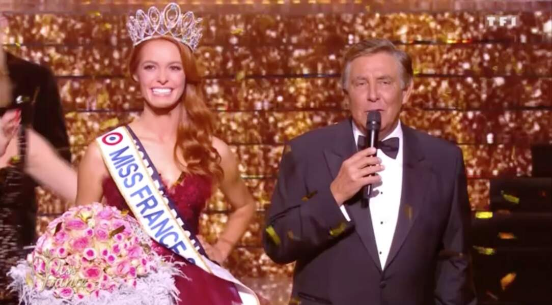 Jean Pierre Foucault et Maéva Coucke, Miss France 2018 le 15 décembre 2017