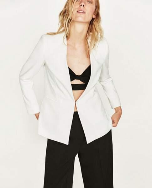 Zara - Veste sans revers (49,95 euros)
