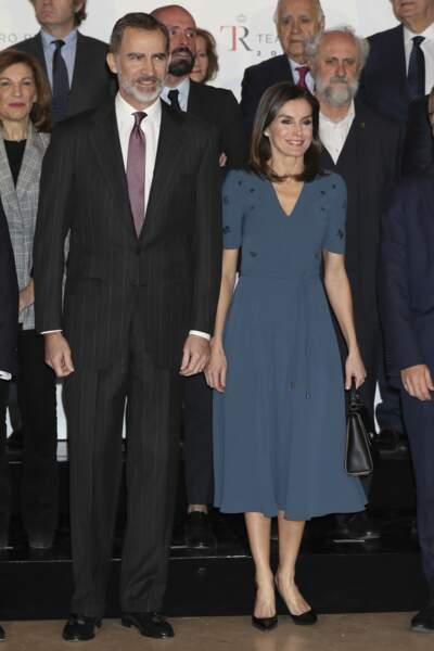 La reine Letizia d'Espagne était accompagnée de son mari le roi Felipe VI d'Espagne