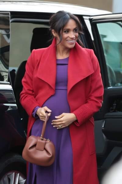 Meghan Markle, enceinte, en visite à Birkenhead le 14 janvier 2019.