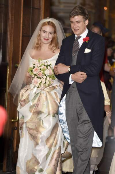 Maria Theresia von Thurn und Taxis (en robe Vivienne Westwood) et Hugo Wilson lors de leur mariage le 13/09/14