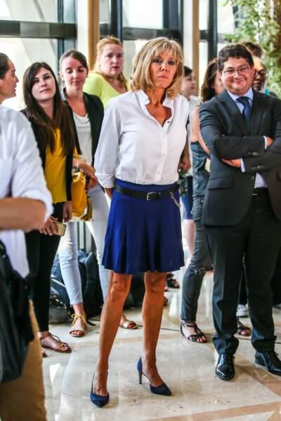 Brigitte Macron lors d'un conférence de presse d'Emmanuel Macron à Bercy, le 30 août 2016