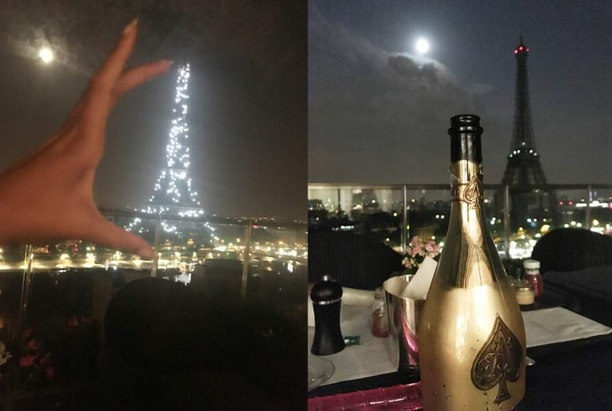 Dans une main la Tour Eiffel, dans l'autre du champagne de de chez Armand de Brignac