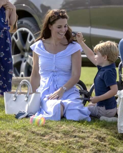 Kate Middleton, le prince George et la princesse Charlotte le 10 juin 2018