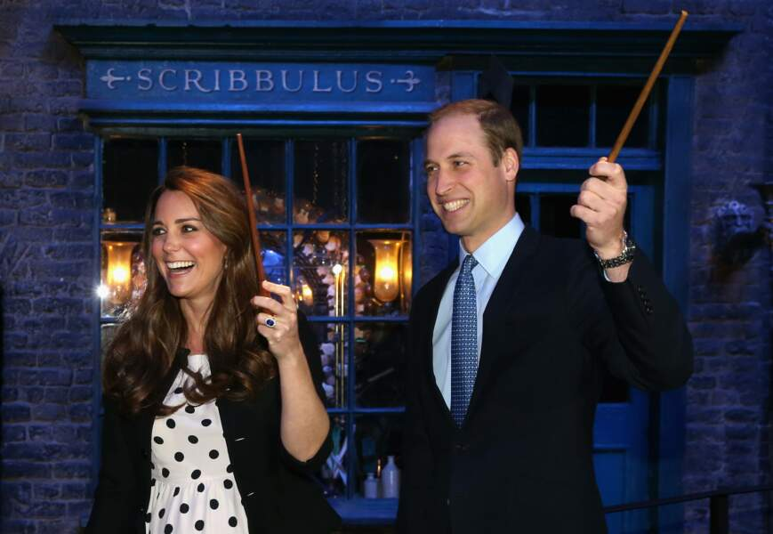 Kate et William gagnés par la magie d'Harry Potter, aux Warner Bros Studios de Leavesden le 26 avril 2013
